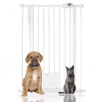 Bettacare Gate with Lockable Cat Flap White 75cm - 84cm